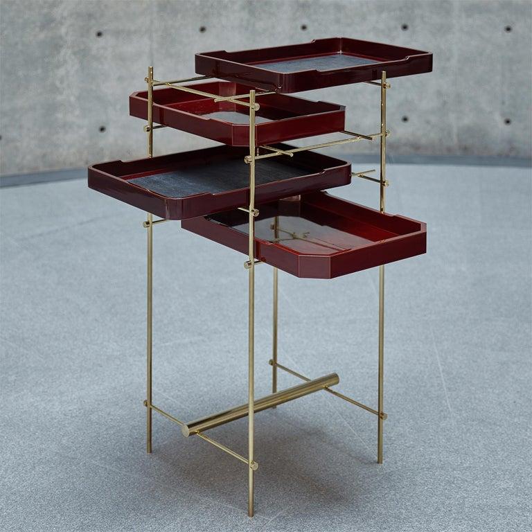 Edo Urushi Tray Shelf Ryosuke Harashima Contemporary Zen Japanese Craft Mingei For Sale