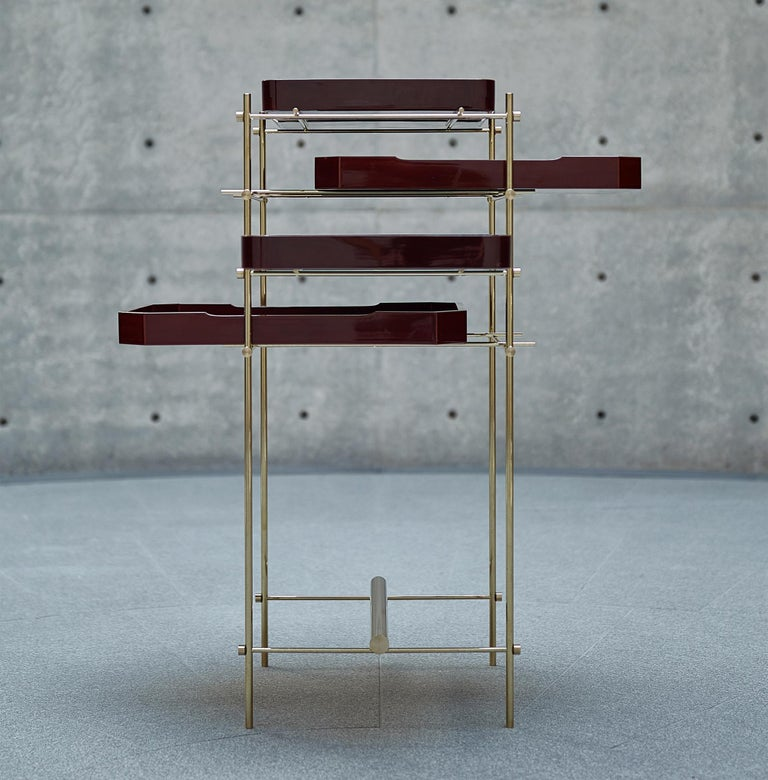 Brass Urushi Tray Shelf Ryosuke Harashima Contemporary Zen Japanese Craft Mingei For Sale