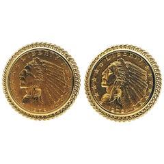 US 14 Karat Yellow Gold Indian Head Half Eagle US Coin Cufflinks