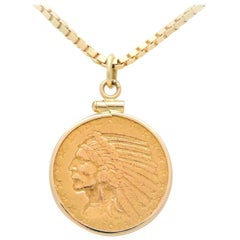 US 1913 $5 Indian Head Coin Pendant Necklace