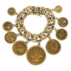 US Antique Gold Coin Charm Bracelet