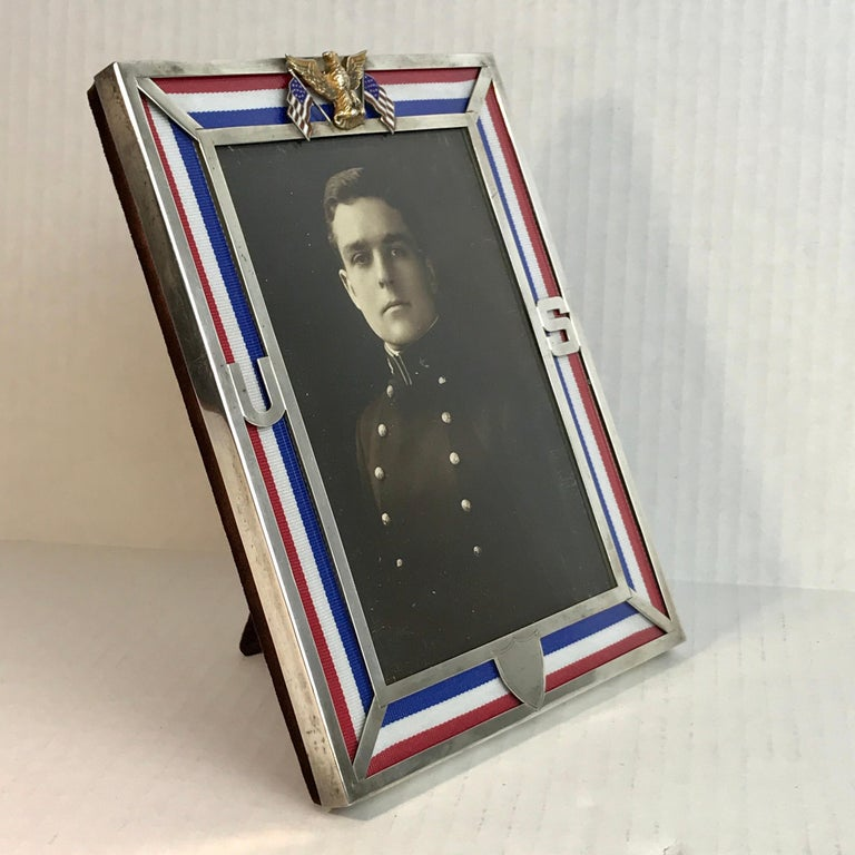 American US Military Sterling and Gold US Emblem Motif Frame, WWI Era, Theodore B. Starr For Sale