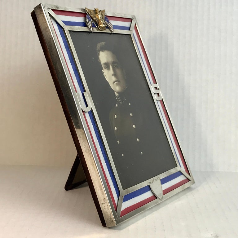 US Military Sterling and Gold US Emblem Motif Frame, WWI Era, Theodore B. Starr For Sale 2