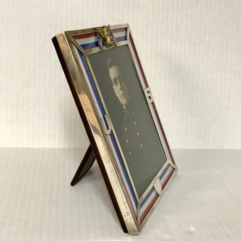 US Military Sterling and Gold US Emblem Motif Frame, WWI Era, Theodore B. Starr For Sale 3