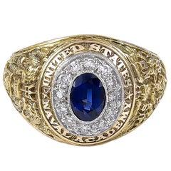 U.S. Naval Academy Bailey Banks Biddle Sapphire Diamond Ring, 1949