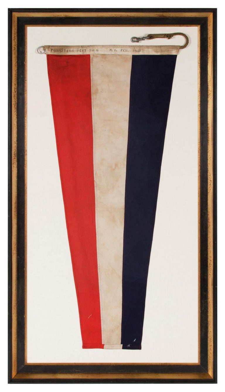 U.S. Navy Formation Pennant, made at Mare Island, California during WWII, Signed and dated 1943  U.S. Navy formation pennant, made during World War II (U.S. involvement 1941-45) and signed along the reverse side of the hoist with a black stencil