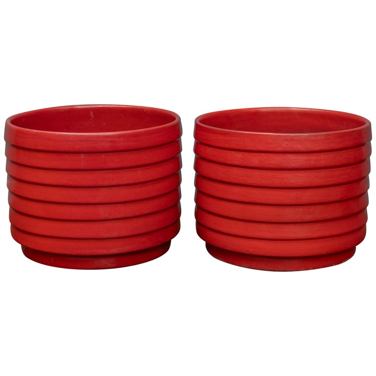 US Pottery of Paramount Ring or Ribbed Planters For Sale