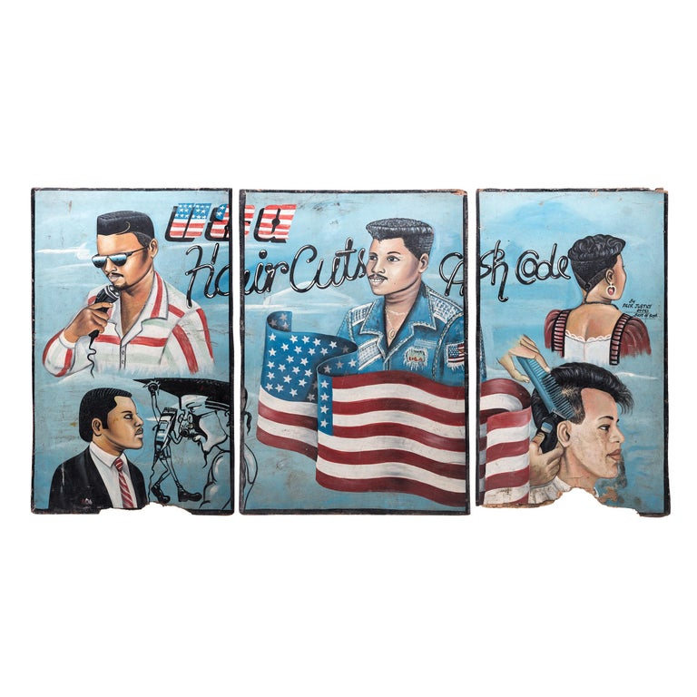 """USA Hair Cuts"" African Barbershop Triptych For Sale"