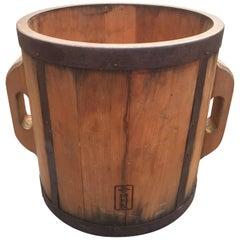 Japanese Antique Handmade Wooden Rice Planter Display Bucket , 1890