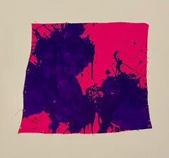 """""""Blue on Magenta,"""" Acrylic Paint on Canvas - Abstract Boxing painting"""