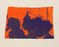 """""""Blue on Orange,"""" Acrylic Paint on Canvas - Abstract Boxing painting"""