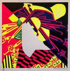 Silkscreen Oiran Day Glo Fluorescent 1960's Japanese Pop Art Print Geisha Kimono