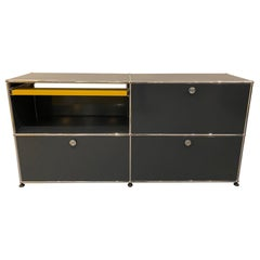 USM Anthracite Credenza by Swiss architect Fritz Haller and Paul Schaerer