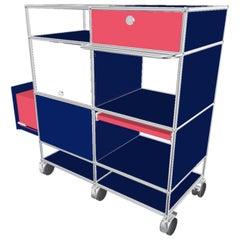 Usm Blue Steel Bar Cart