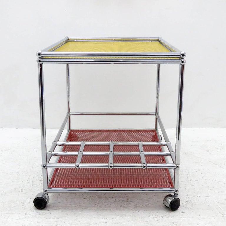 Powder-Coated USM Haller Bar Cart For Sale