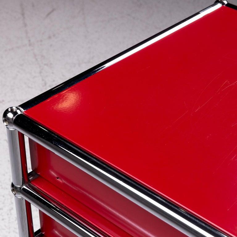 Modern USM Haller Metal Container Red Sideboard Rolls For Sale