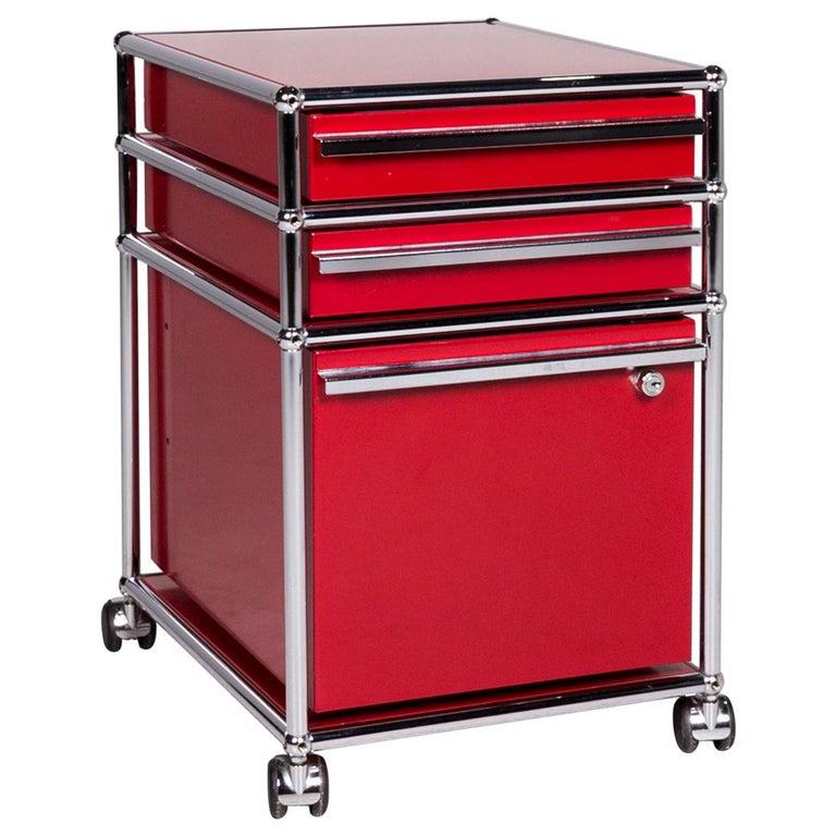 USM Haller Metal Container Red Sideboard Rolls For Sale