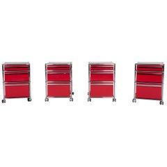 USM Haller Metal Shelf Sideboard Rollcontainer Set 3 Drawers Red