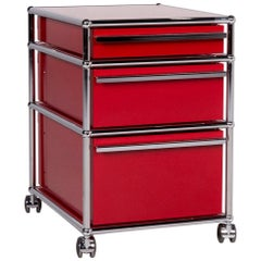 USM Haller Metal Shelf Sideboard Rolling Containers 3 Drawers Red