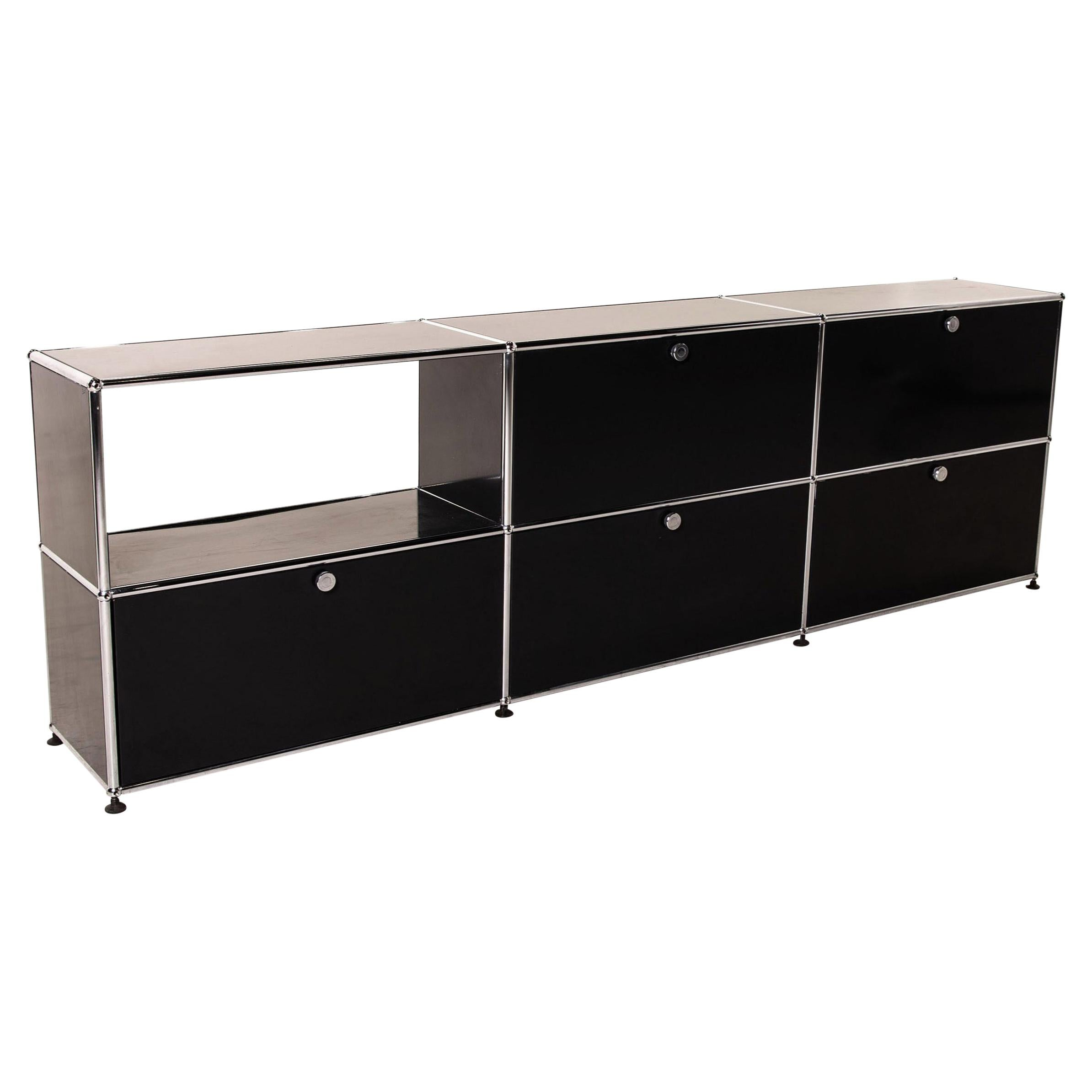 USM Haller Metal Sideboard Black Office Furniture