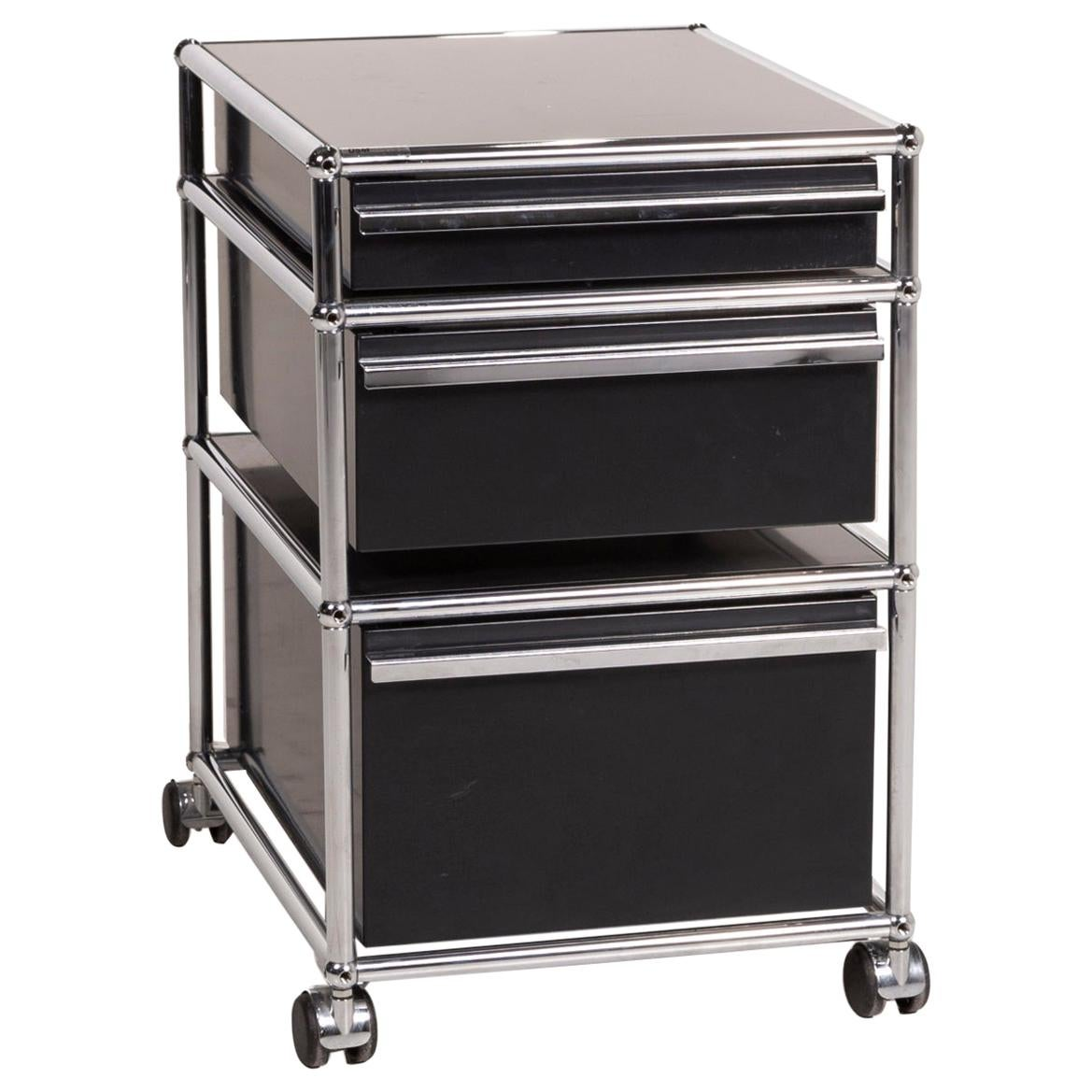 USM Haller Metal Sideboard Black Roll Container Rolls Drawer Compartment Chrome