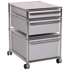 USM Haller Metal Sideboard Gray Roll Container Drawer Compartment Chrome Office