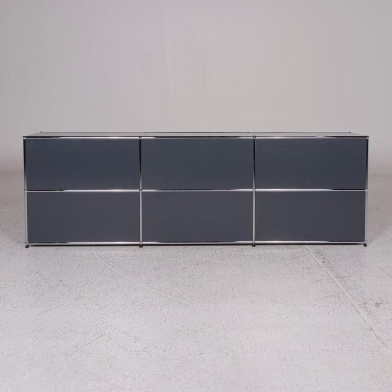 Usm Haller Metal Sideboard Gray Shelf With Two Shelves