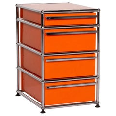USM Haller Metal Sideboard Orange Container Chrome Office