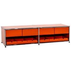 USM Haller Metal Sideboard Orange Office Furniture Lowboard Modular