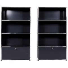 Usm Haller Metal Sideboard Set Anthracite 2 Shelf Chrome Office Furniture