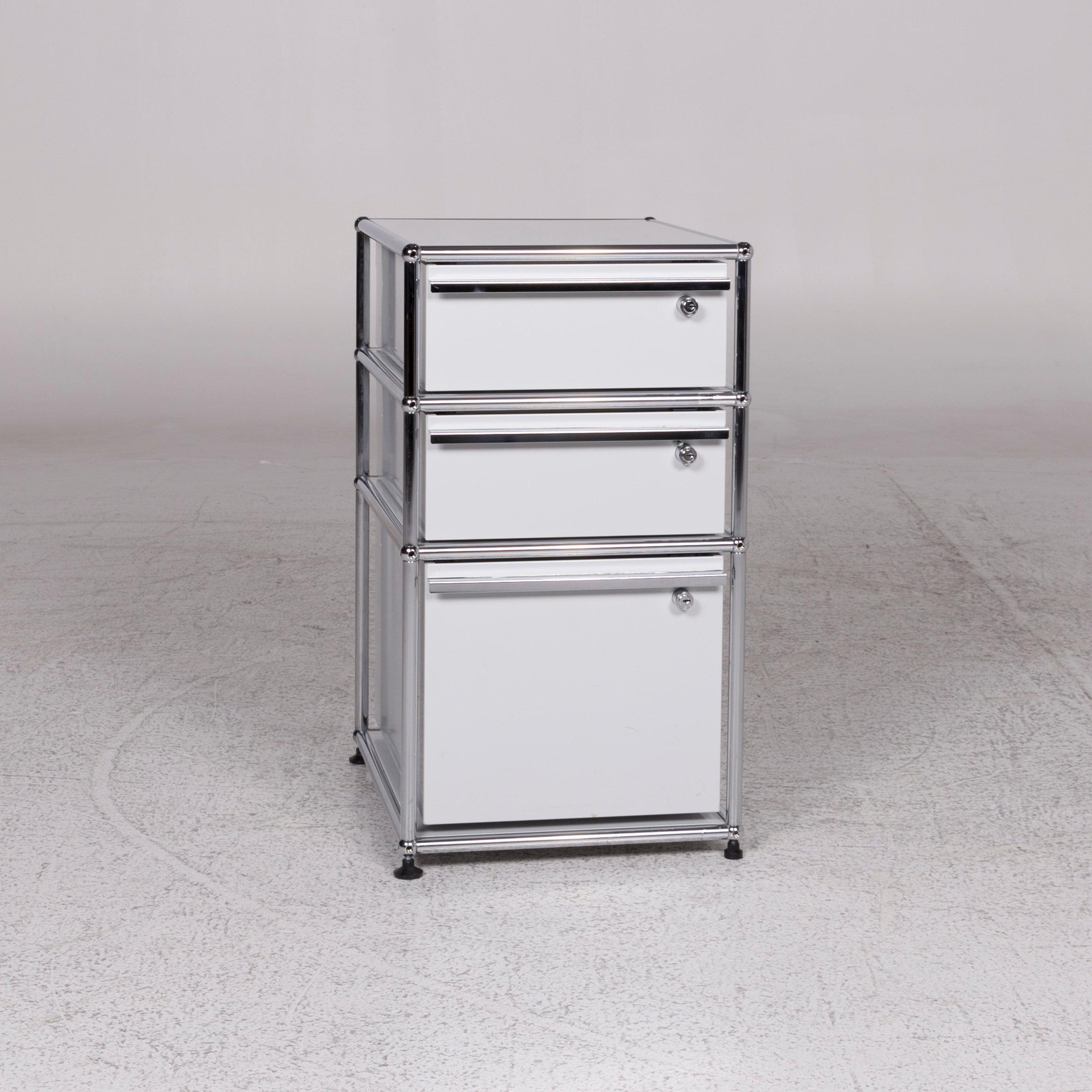 Usm Haller Metal Sideboard Set Light Gray With Three Drawers Chrome