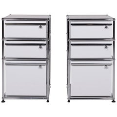 USM Haller Metal Sideboard Set Light Gray with Three Drawers Chrome