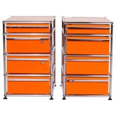 USM Haller Metal Sideboard Set Orange Container Chrome Office
