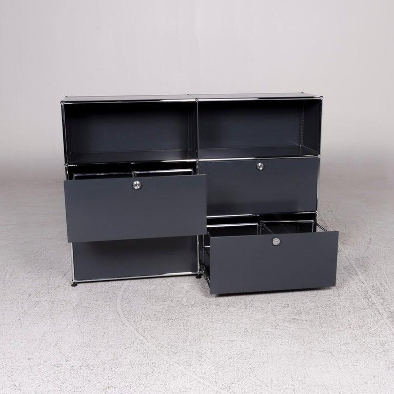 German USM Haller Metal Sideboard Shelf Gray 4 Drawers For Sale