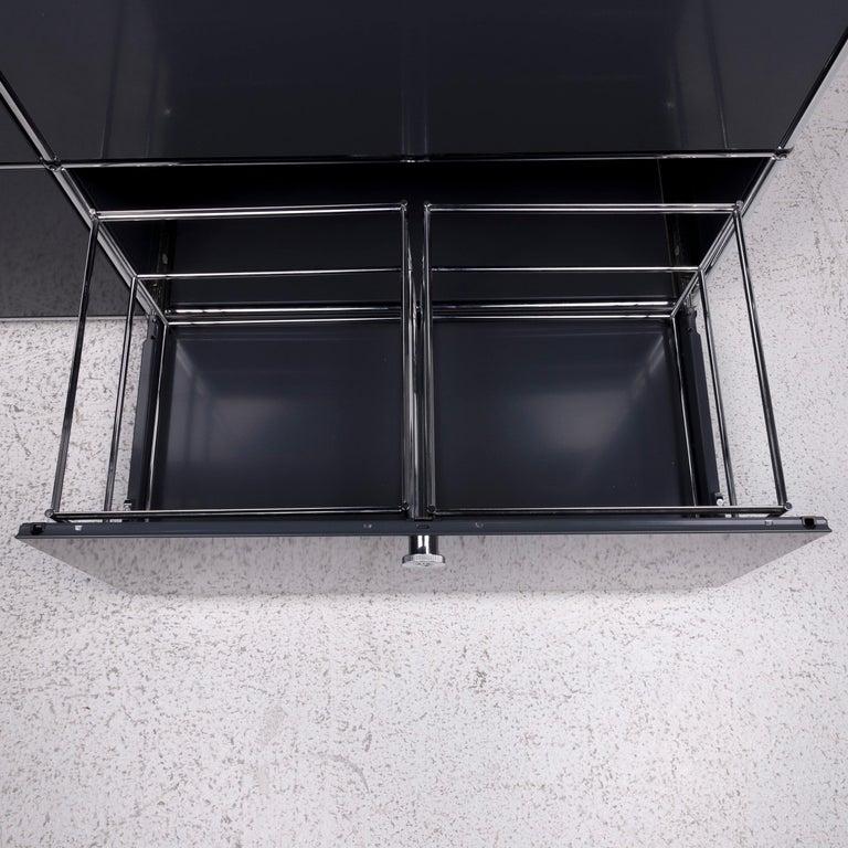 USM Haller Metal Sideboard Shelf Gray 4 Drawers In Good Condition For Sale In Cologne, DE