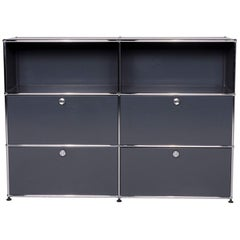 USM Haller Metal Sideboard Shelf Gray 4 Drawers