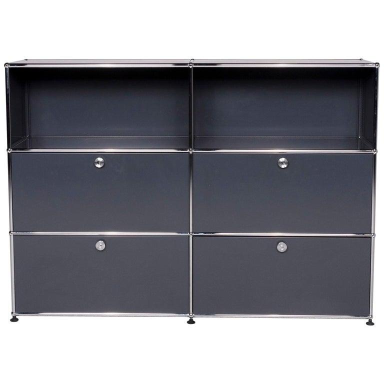 USM Haller Metal Sideboard Shelf Gray 4 Drawers For Sale