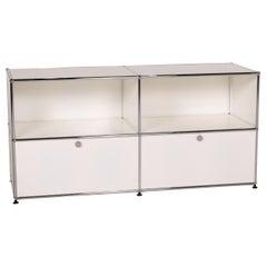 USM Haller Metal Sideboard White 2x2 Drawers, Shelves, Office Furniture