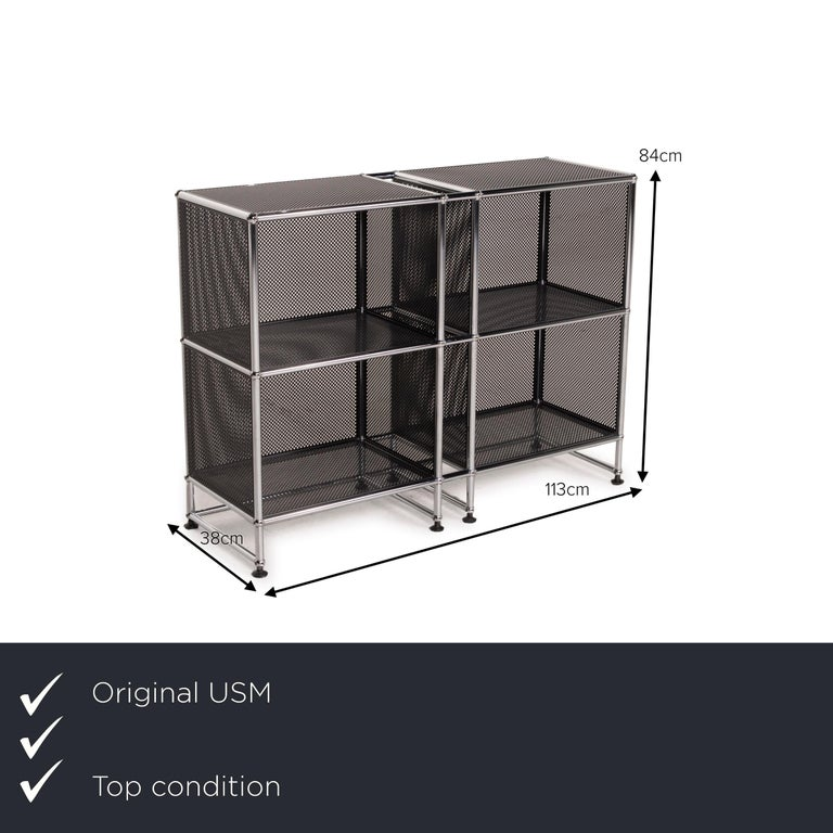 We present to you an USM Haller sideboard black highboard shelf compartment office.      Product measurements in centimeters:     Depth: 38  Width: 113 Height: 84.