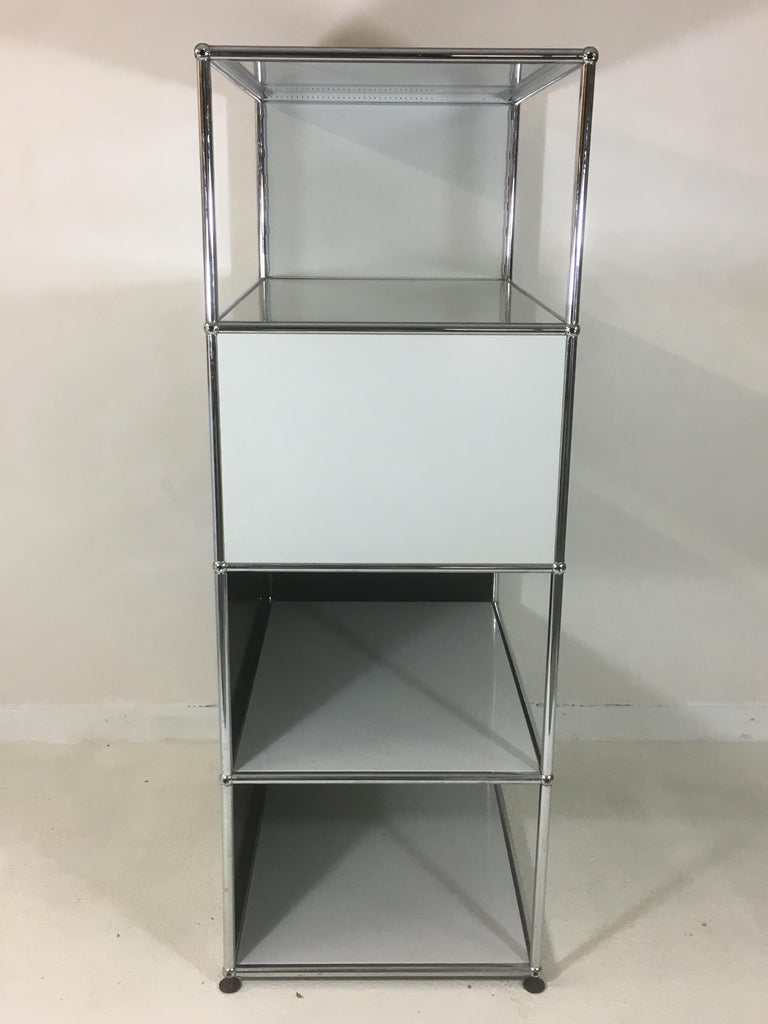 Swiss Usm Haller Storage Unit White, Grey and Stainless Steel Designed by Fritz Haller For Sale