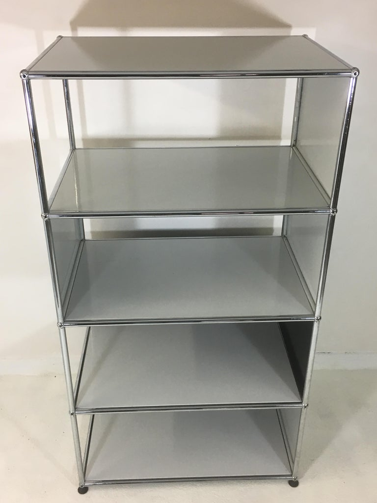 Lacquered Usm Haller Storage Unit White, Grey and Stainless Steel Designed by Fritz Haller For Sale