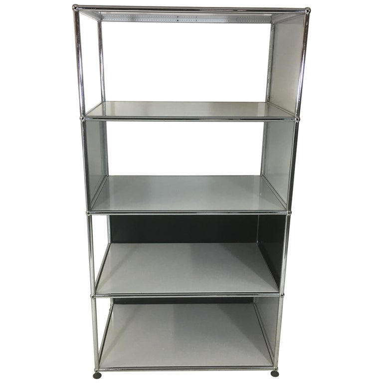 Usm Haller Storage Unit White, Grey and Stainless Steel Designed by Fritz Haller For Sale