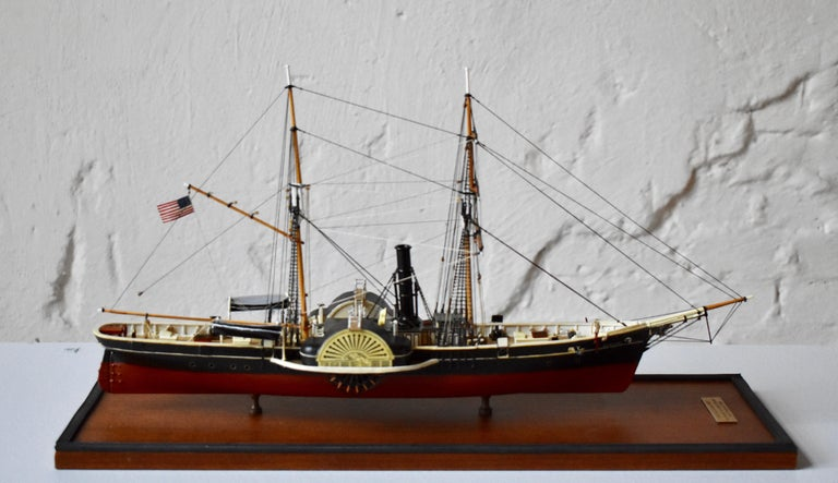 Hand-Crafted USRC Harriet Lane '1857' Model in Wood, 1:144, Sten Bergwall, 1994 For Sale