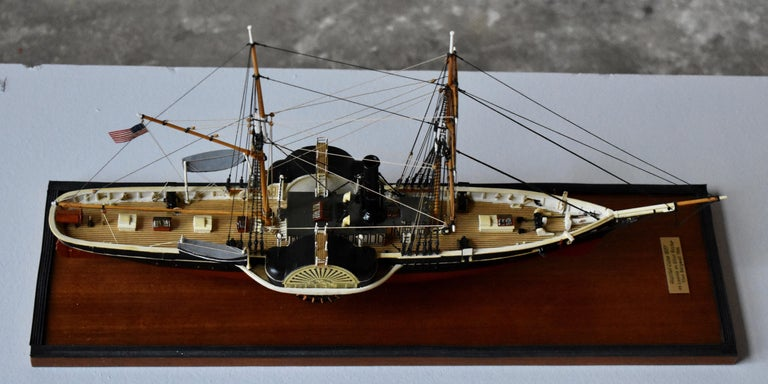 USRC Harriet Lane '1857' Model in Wood, 1:144, Sten Bergwall, 1994 In Excellent Condition For Sale In Helsingborg, SE