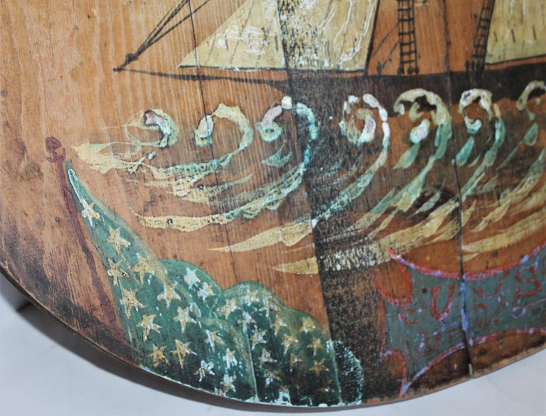 This nautical & patriotic ship trade sign is in good condition and is late but great. This sign has wear but a very nice patina. It's an early 20th century sign and probably hung at a dock or ship yard. Fantastic flag depiction.