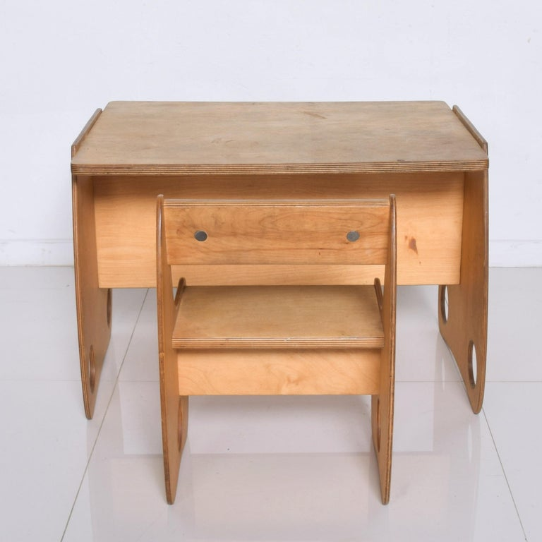 Mid-Century Modern USSR Child School Desk Set Table & Chair by Hans Mitzlaff & Albrecht Lange 1960s For Sale