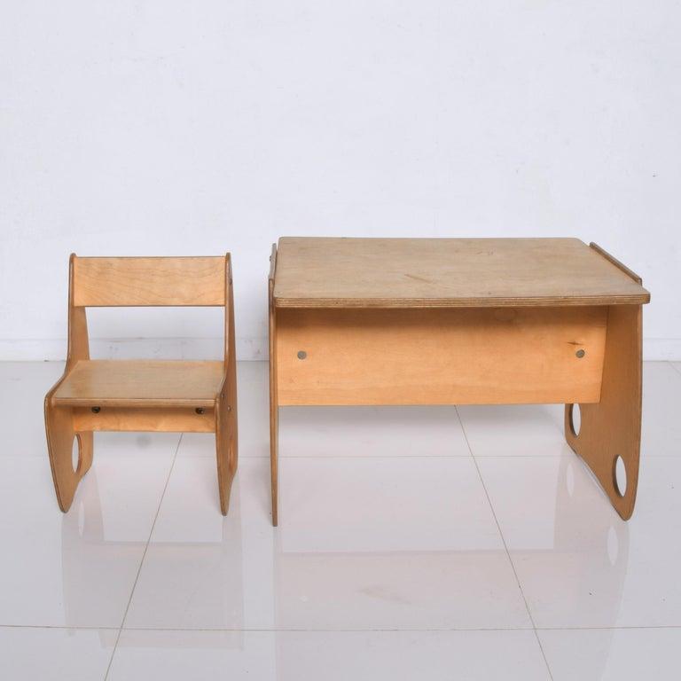 Russian USSR Child School Desk Set Table & Chair by Hans Mitzlaff & Albrecht Lange 1960s For Sale