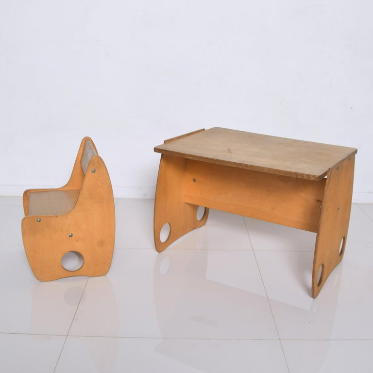 USSR Child School Desk Set Table & Chair by Hans Mitzlaff & Albrecht Lange 1960s In Good Condition For Sale In National City, CA