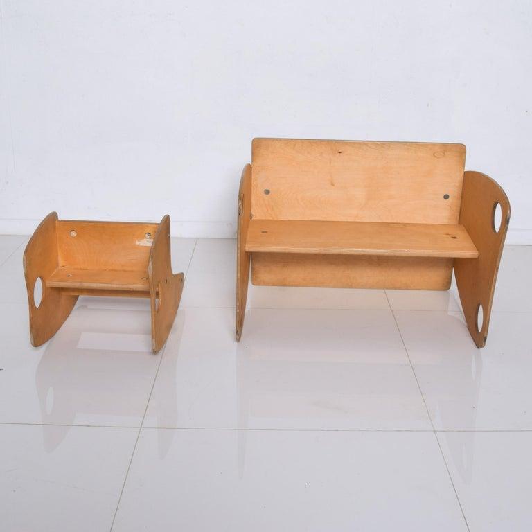 Mid-20th Century USSR Child School Desk Set Table & Chair by Hans Mitzlaff & Albrecht Lange 1960s For Sale
