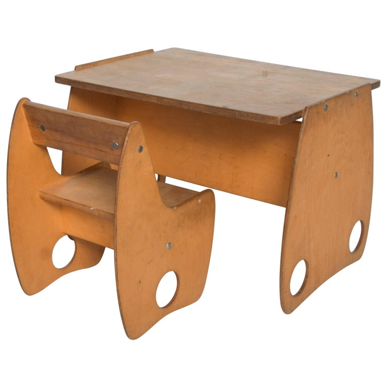 USSR Child School Desk Set Table & Chair by Hans Mitzlaff & Albrecht Lange 1960s For Sale